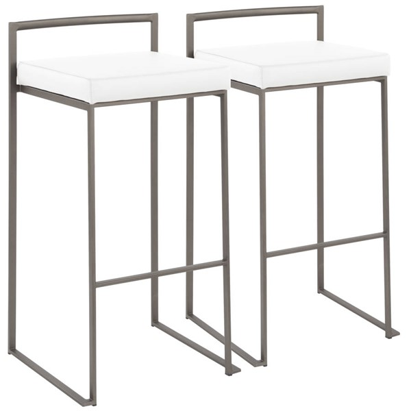 2 Lumisource Fuji Antique White Stacker Barstools LUMI-B30-FUJI-AN-W2