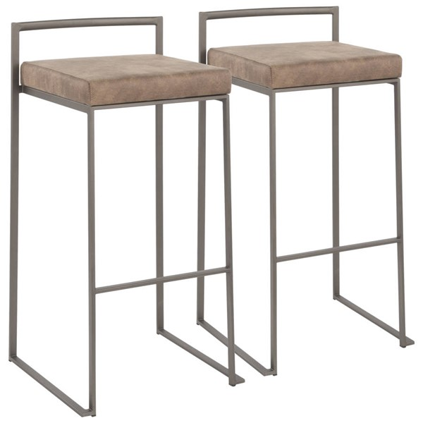 Lumisource Fuji Antique Brown Fabric Stacker Barstools LUMI-B30-FUJI-F-VAR