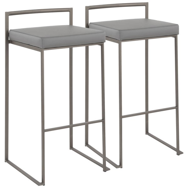2 Lumisource Fuji Antique Grey Leather Stacker Barstools LUMI-B30-FUJI-ANGY2