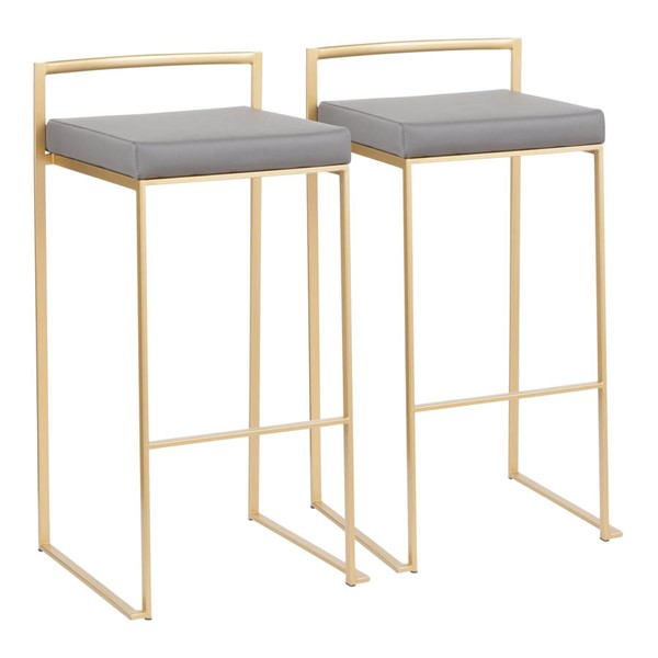 2 Lumisource Fuji Gold Grey Stacker Bar Stools LUMI-B30-FUJI-AUGY2
