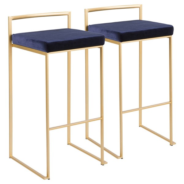 2 Lumisource Fuji Gold Blue Barstools LUMI-B30-FUJI-AUVBU2
