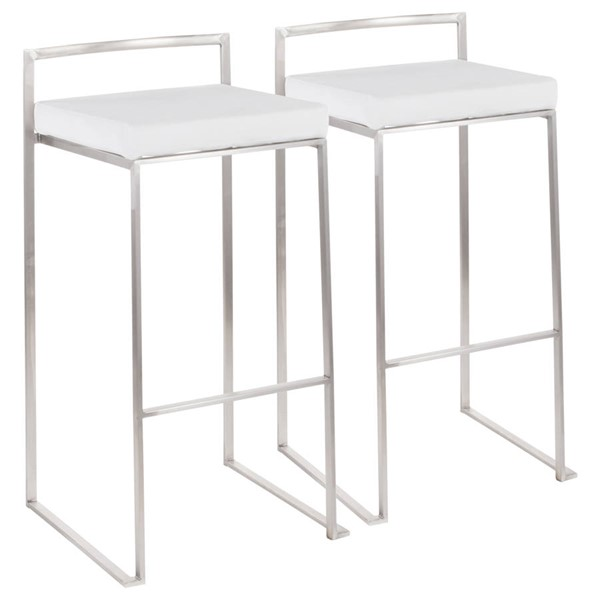 2 Lumisource Fuji Brushed White Stacker Barstools LUMI-B30-FUJI-VW2