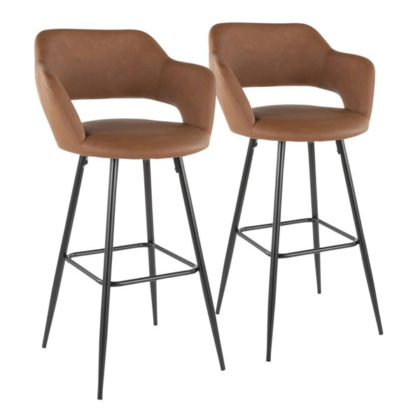 2 Lumisource Margarite Brown Barstools LUMI-B30-MARG-BK-BN2