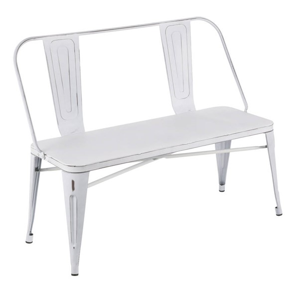 Lumisource Oregon White Metal Bench LUMI-BC-ORMTL-VW