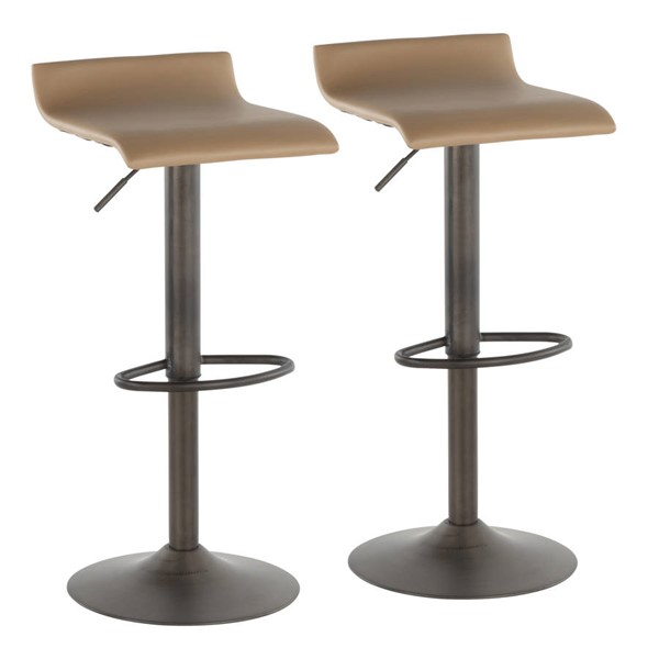 2 Lumisource Ale Antique Camel Barstools LUMI-BS-ALE-AN-CAM2