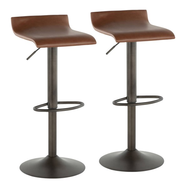 2 Lumisource Ale Antique Brown Barstools LUMI-BS-ALE-AN-MBN2