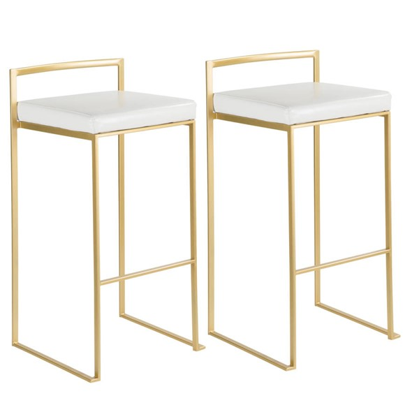 2 Lumisource Fuji Gold White PU Bar Stools LUMI-BS-FUJI-AU-W2