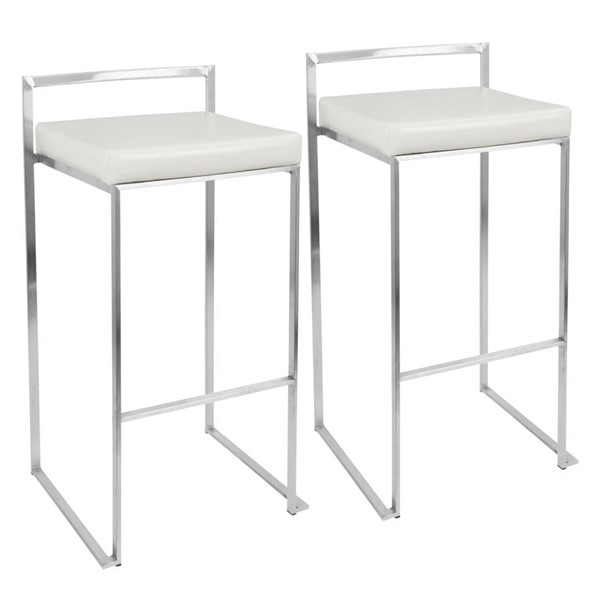 2 Lumisource Fuji White PU Barstools LUMI-BS-FUJI-W2