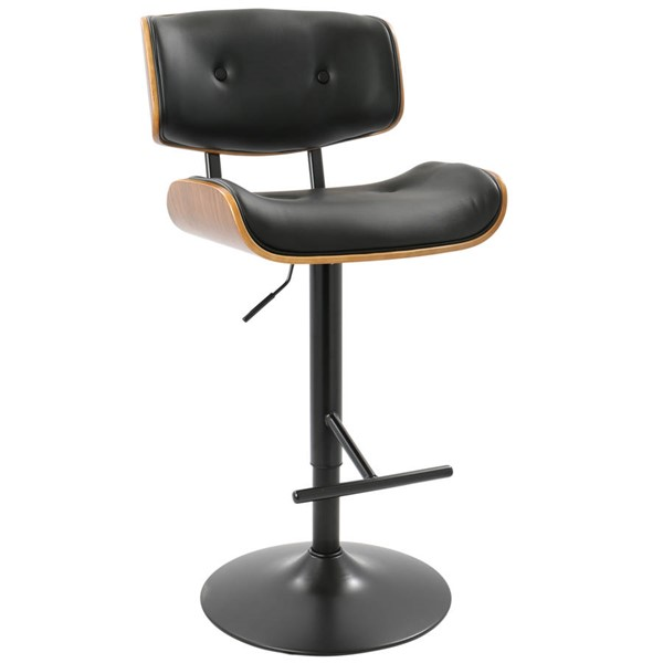 Lumisource Lombardi Walnut Black Barstool LUMI-BS-JY-LMB-WL-BK