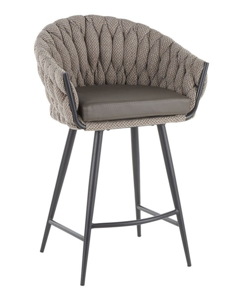 Lumisource Matisse Grey Counter Stool LUMI-B26-BRAIDMAT-BKGY