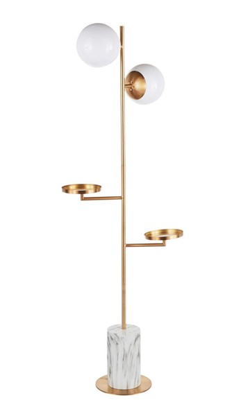 Lumisource Butler Gold White Floor Lamp LUMI-L-BUTLERFL-AUWM