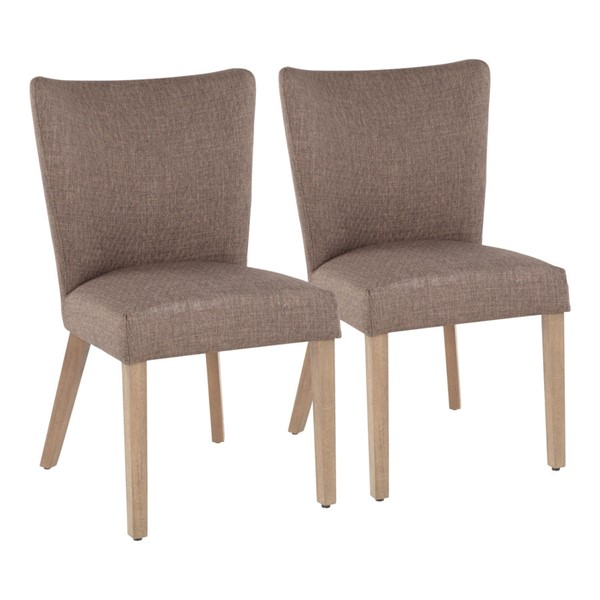 2 LumiSource Addison Ash Brown Grey Dining Chairs LUMI-CH-ADISON-BNGY2