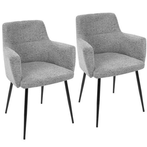 2 Lumisource Andrew Grey Black Metal Dining Chairs LUMI-CH-ANDRW-BK-GY2