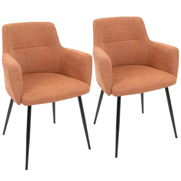 2 Lumisource Andrew Orange Black Metal Dining Chairs LUMI-CH-ANDRW-BK-O2