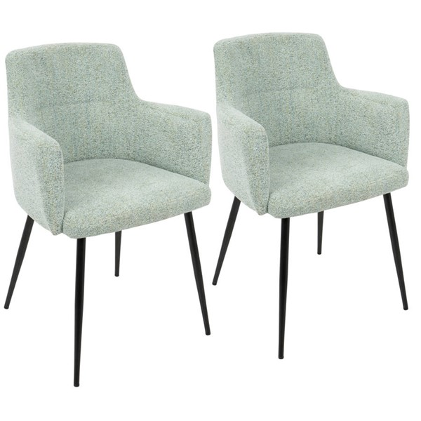 2 Lumisource Andrew Light Green Black Metal Dining Chairs LUMI-CH-ANDRW-BKLGN2