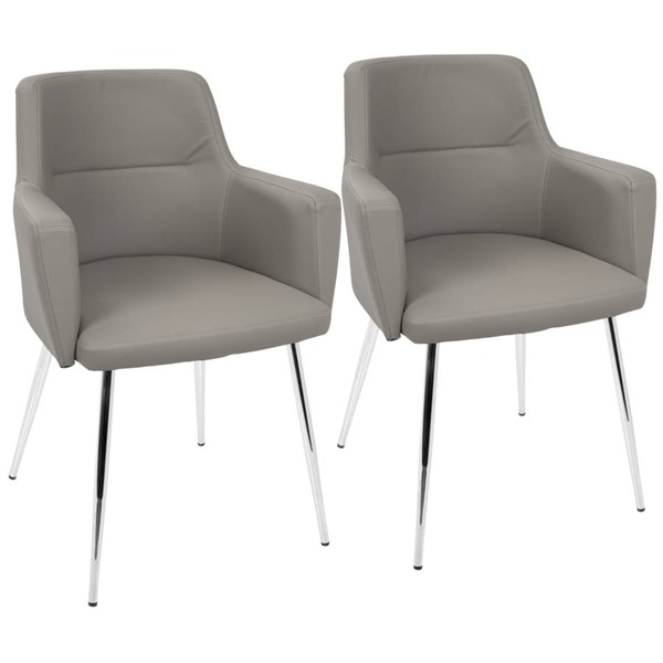 2 Lumisource Andrew Grey Leather Dining Chairs LUMI-CH-ANDRW-GY2