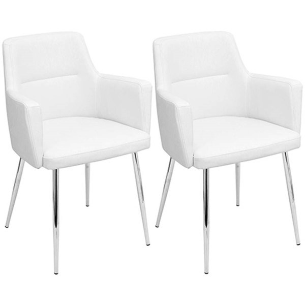 2 Lumisource Andrew White Leather Dining Chairs LUMI-CH-ANDRW-W2