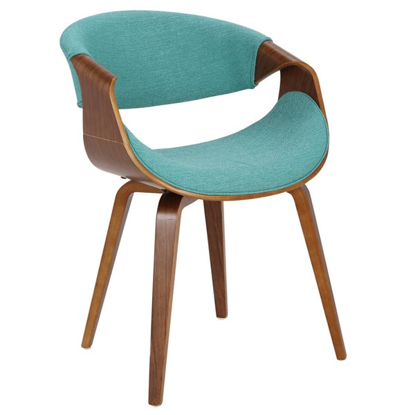 Lumisource Curvo Walnut Teal Chair LUMI-CH-CRVNL-WL-TL