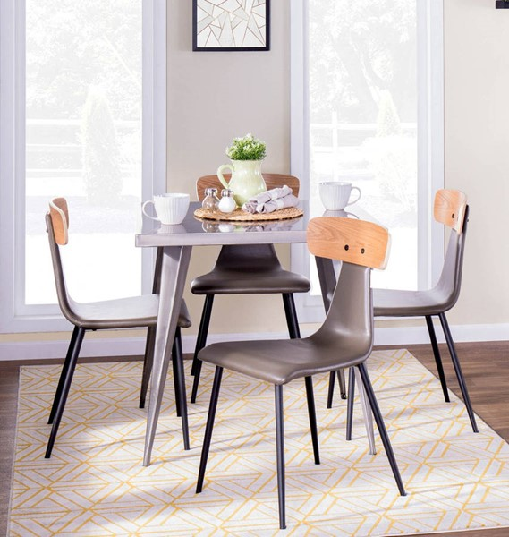 Lumisource Austin Grey Natural 5pc Dining Room Set LUMI-AUSTIN-BK-GY-SQ-DR-S15