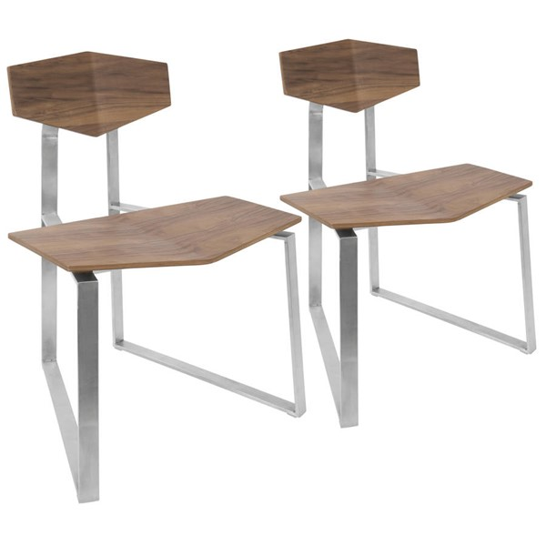2 Lumisource Flight Walnut Chairs LUMI-CH-FLIGHT-WL2