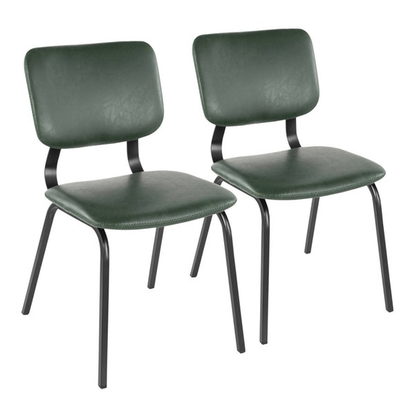 2 Lumisource Foundry Green Chairs LUMI-CH-FNDY-BK-GN2