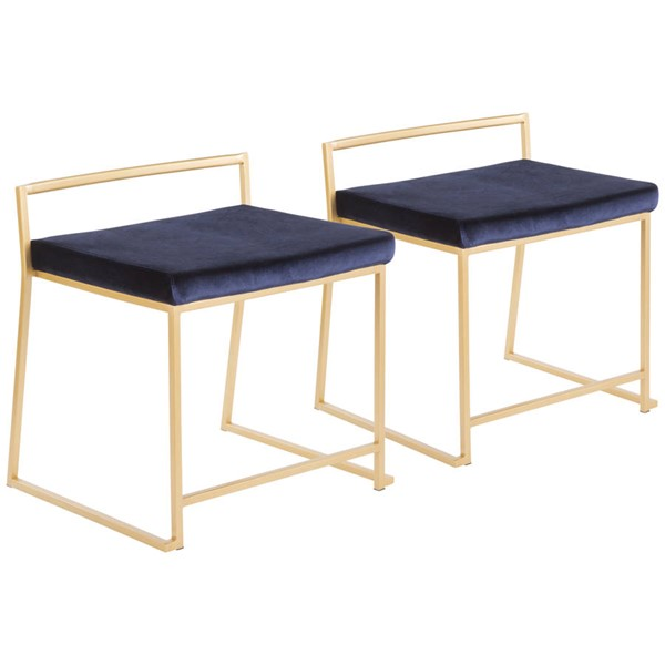 2 Lumisource Fuji Gold Blue Dining Chairs LUMI-CH-FUJIAU-VBU2