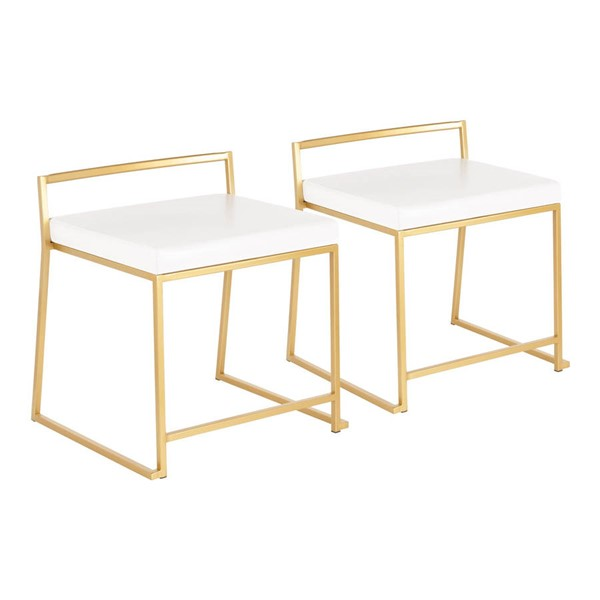 2 Lumisource Fuji Gold White PU Leather Dining Chairs LUMI-CH-FUJIAU-W2
