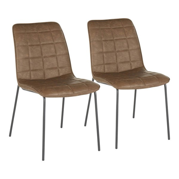 2 Lumisource Quad Black Espresso PU Leather Indy Chairs LUMI-CH-INDYQUAD-BKE2