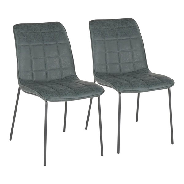 2 Lumisource Quad Black Green PU Leather Indy Chairs LUMI-CH-INDYQUAD-BKGN2