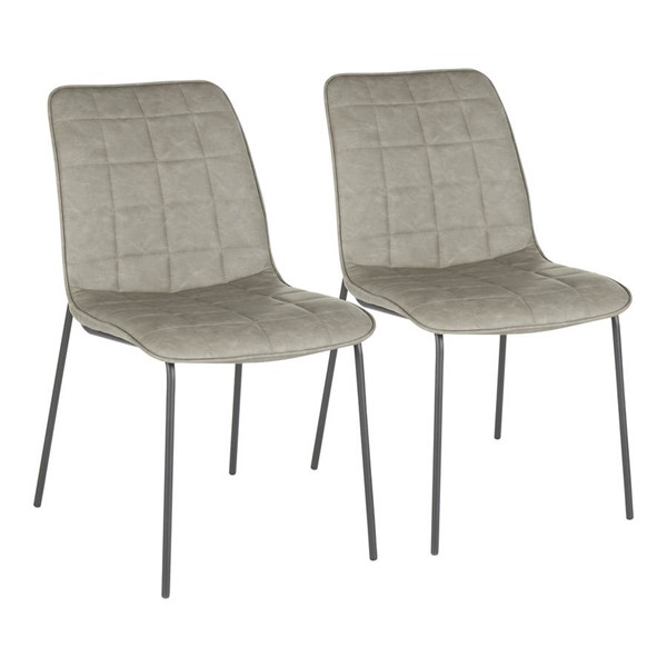 2 Lumisource Quad Black Grey PU Leather Indy Chairs LUMI-CH-INDYQUAD-BKGY2