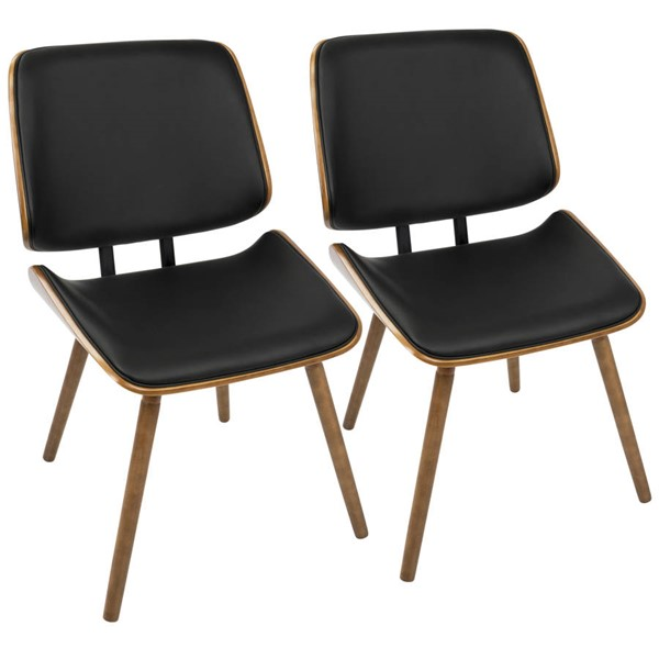 2 Lumisource Lombardi Walnut Black Chairs LUMI-CH-LMB-WL-BK2