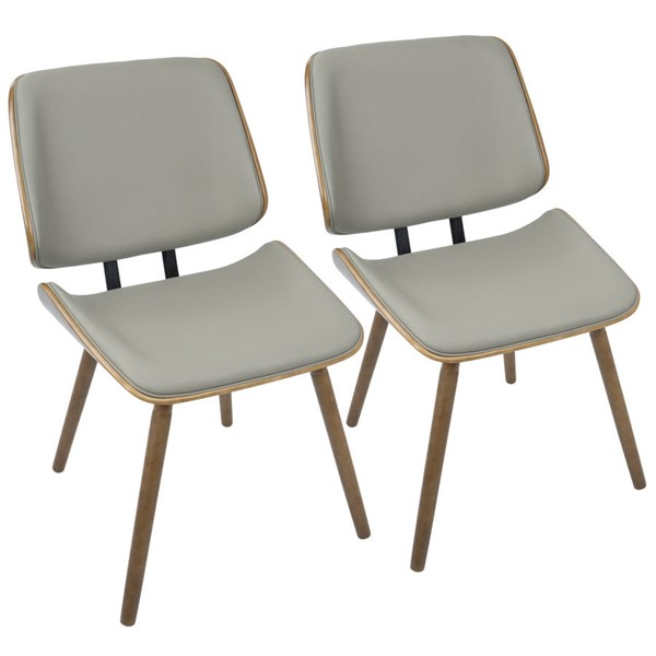 2 Lumisource Lombardi Walnut Grey Chairs LUMI-CH-LMB-WL-GY2