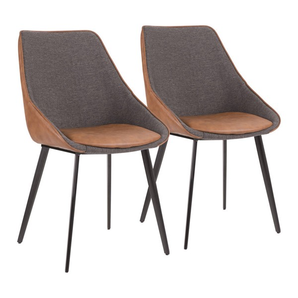 2 Lumisource Marche Black Brown Grey Chairs LUMI-CH-MAR-BK-BNGY2