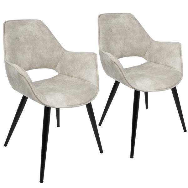 2 Lumisource Mustang Beige Chairs LUMI-CH-MSTNG-BG2