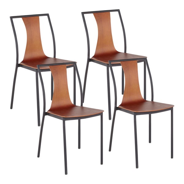 4 LumiSource Osaka Black Walnut Chairs LUMI-CH-OSAKA-BKWL4