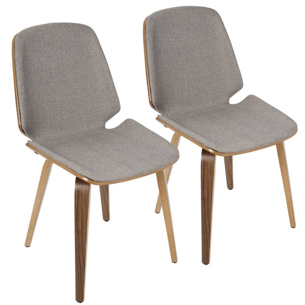 2 Lumisource Serena Walnut Light Grey Chairs LUMI-CH-SER-WL-LGY2