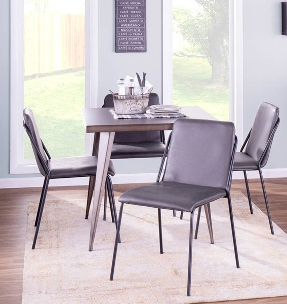 Lumisource Austin Charcoal 5pc Dining Room Set LUMI-AUSTIN-CHA-SQ-DR-S11