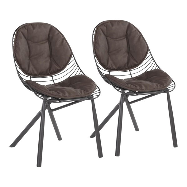 2 Lumisource Wired PU Leather Chairs LUMI-CH-WIRED-BK-DR-CH-VAR
