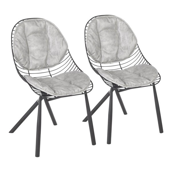 2 Lumisource Wired Black Light Grey PU Leather Chairs LUMI-CH-WIRED-BKGY2