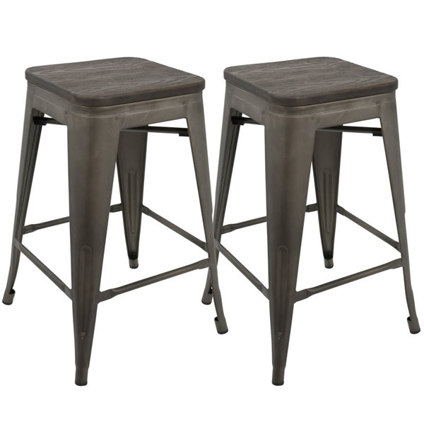 2 Lumisource Oregon Antique Espresso Counter Stools LUMI-CS-OR-AN-E2