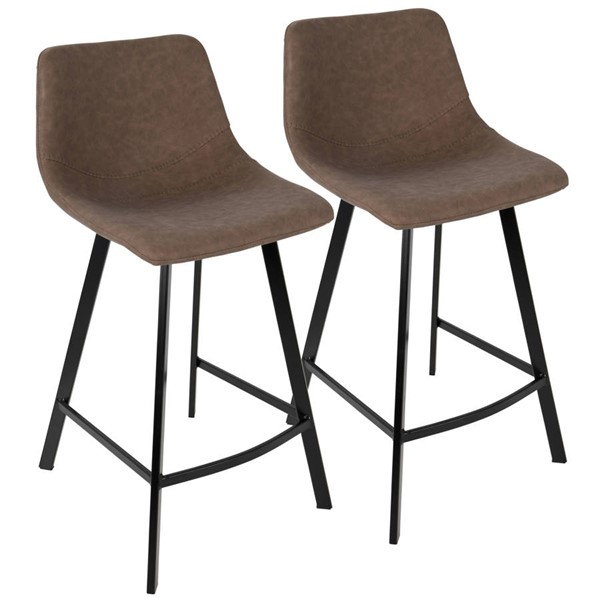 2 Lumisource Outlaw Brown Counter Stools LUMI-CS-OUTLW-BK-BN2