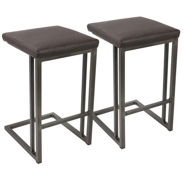 2 Lumisource Roman Antique Espresso Counter Stools LUMI-CS-RMN-AN-E2