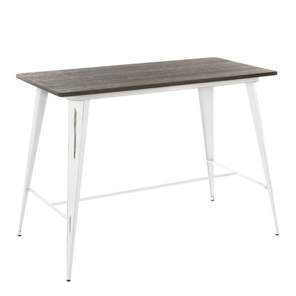 Lumisource Oregon White Espresso Counter Table LUMI-CT-OR-VW-E