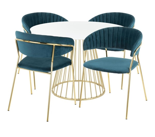 Lumisource Canary White Teal 5pc Dining Set LUMI-D-CANARY2AUW-4TANIAAUTL