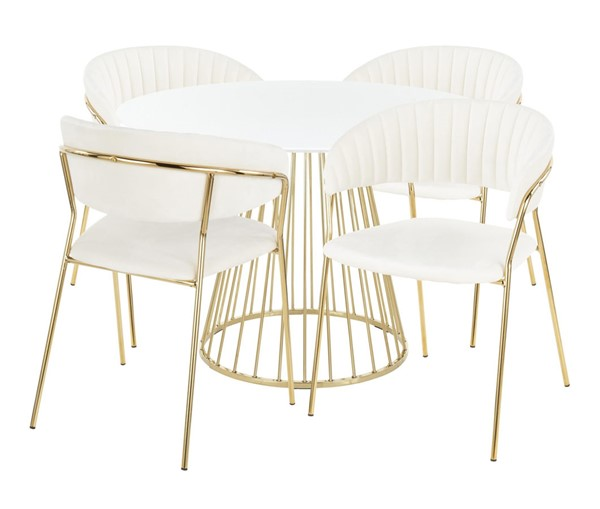 Lumisource Canary White 5pc Dining Set LUMI-D-CANARY2AUW-4TANIAAUW