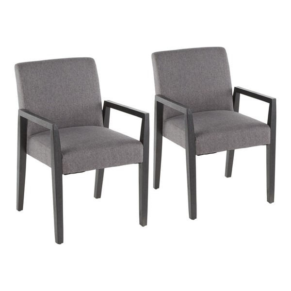 2 Lumisource Carmen Black Grey Fabric Arm Chairs LUMI-DC-CARMARM-BKGY2