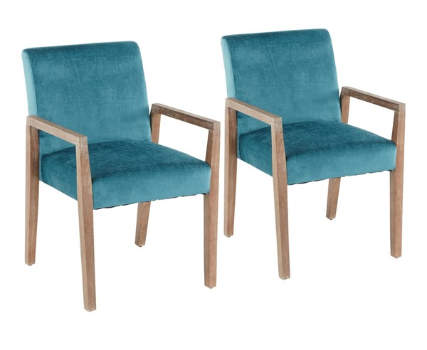 2 Lumisource Carmen White Teal Velvet Arm Chairs LUMI-DC-CARMARM-WWCVTL2