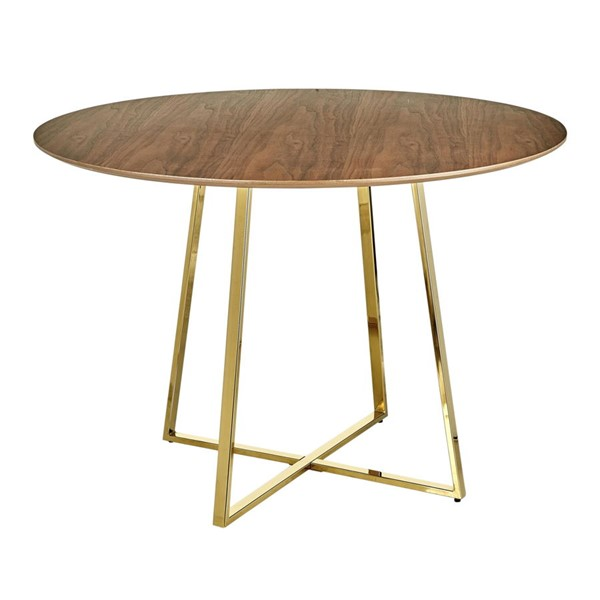 Lumisource Cosmo Gold Walnut Dining Table LUMI-DT-43COSMO2-AUWL