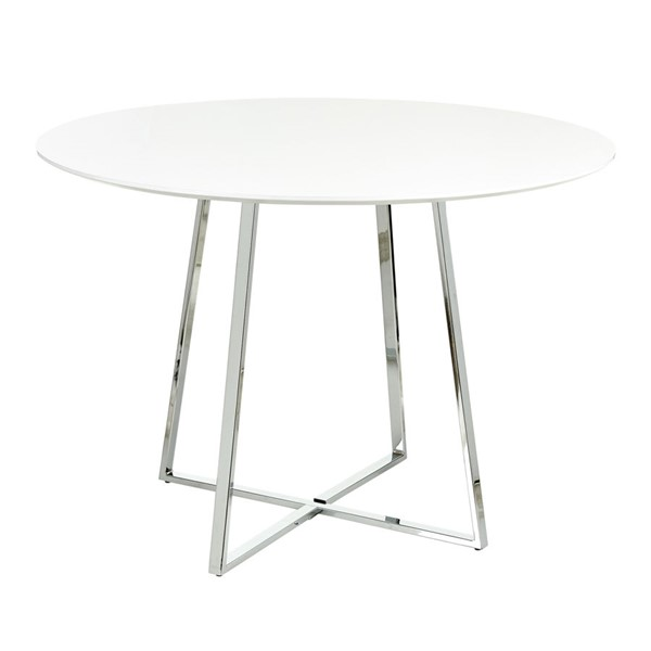 Lumisource Cosmo Chrome White Dining Table LUMI-DT-43COSMO2-W