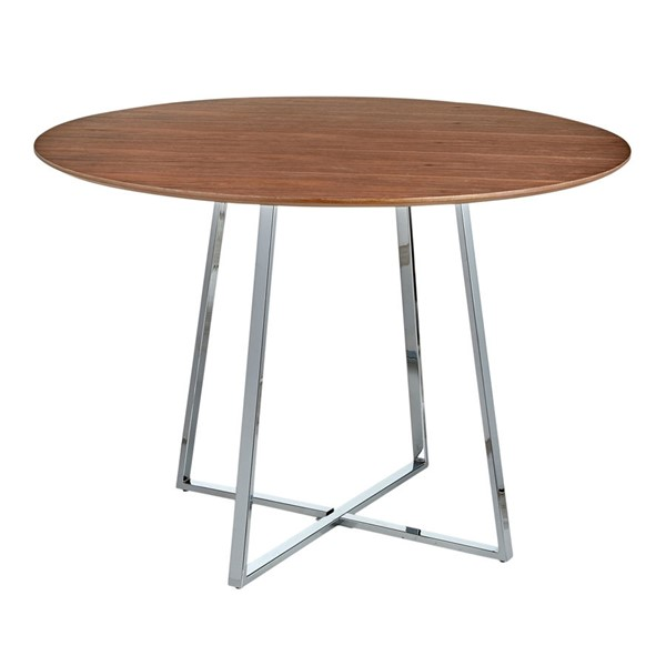 Lumisource Cosmo Chrome Walnut Dining Table LUMI-DT-43COSMO2-WL